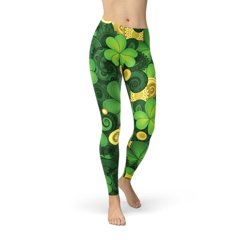 12a00fc3627d7 Shamrock Leggings For Women Womens Irish Green Leggings w. | Etsy