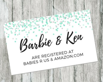 Mint Green Confetti Gift Registry Card, Its A Boy Baby Shower Printable, Printable Baby Shower Inserts, Invitation Shower Registry Insert
