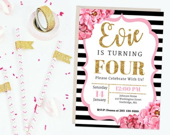 Watercolor Floral Printable Birthday Party Invitation Pink Black Gold Girl 4th Invite