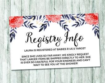 Watercolor Floral Registry Card, Floral Baby Shower, Girl Baby Shower Registry Insert, Watercolor Baby Shower Invite, Baby Shower Printable