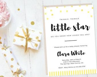 Star Printable Baby Shower Invitation, Gender Neutral Baby Shower, Twinkle Twinkle Little Star Baby Shower Invitation Twinkle Twinkle Shower