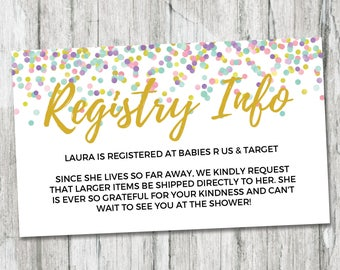Rainbow Baby Shower Gift Registry Card, Registry Info Card, Printable Baby Shower Insert, Rainbow Confetti Registry Insert, Girl Baby Shower