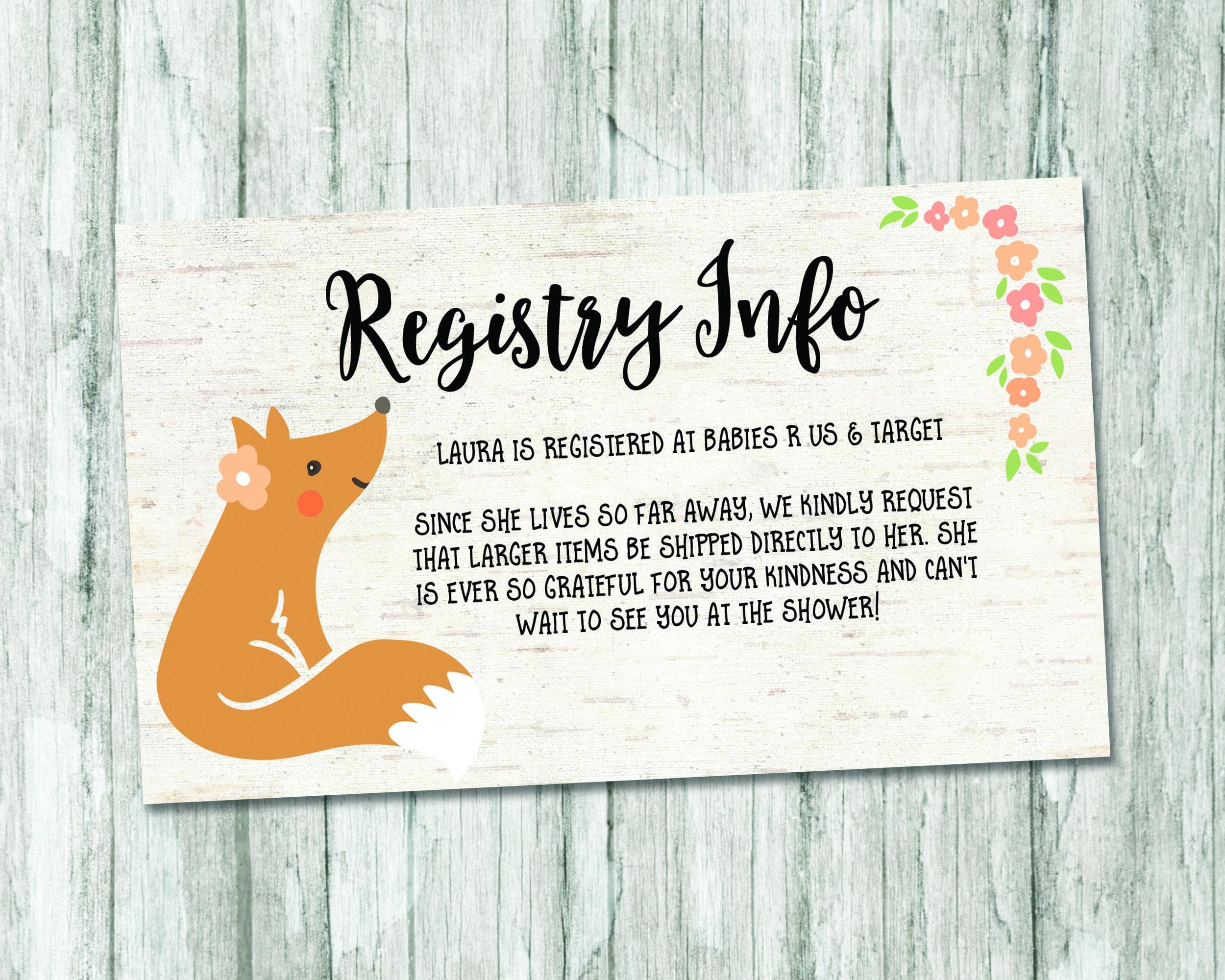 spring baby shower registry card woodland baby shower