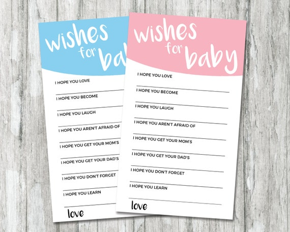 Gender Reveal Games Wishes For Baby Card Printable Baby Etsy