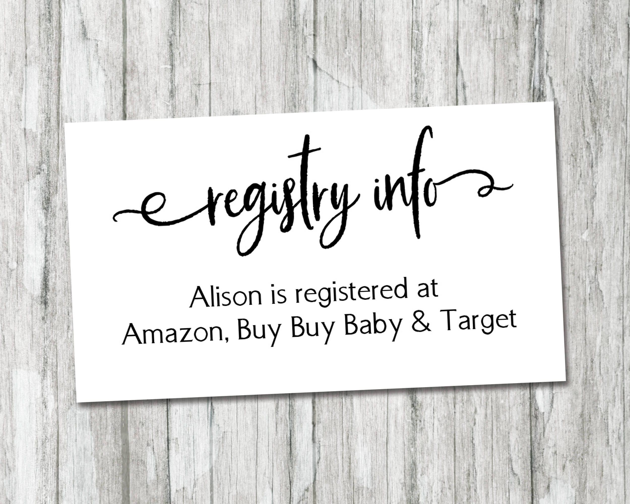 Black And White Gift Registry Card Insert Baby Registry Etsy