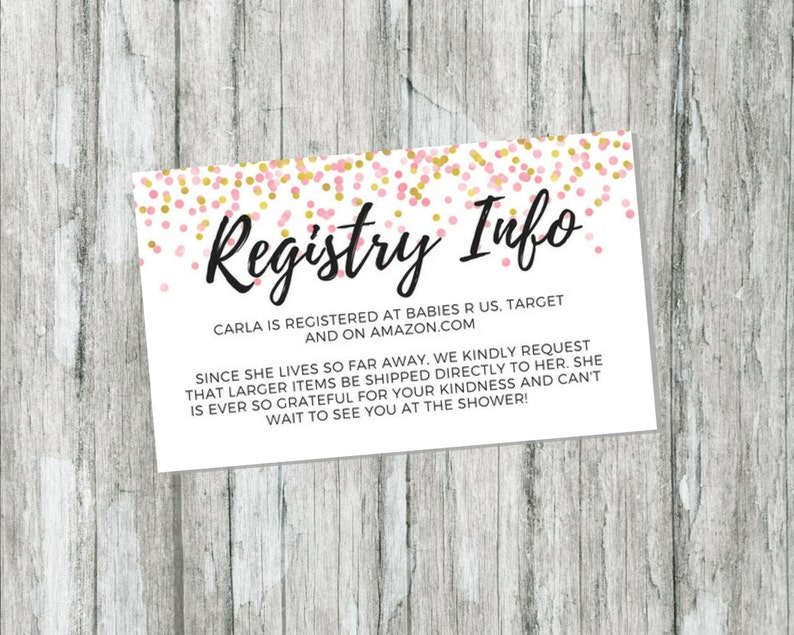 Wedding Registry Invitation: Shower Gift Registry Card Pink And Gold Baby Shower