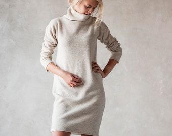 Knit wool TUNIC JUMPER, Roll neck jumper dress, White wool longline tunic, Natural knit jumper, Turtleneck jumper, Organic winter pullover