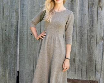 Knit wool DRESS, Feminine sweater dress, Light brown gathered waist dress, Natural knit tunic dress, Organic winter sweater dress