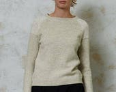 Wool jumper, Handmade wool sweater, Natural light grey wool sweater, Hand knitted wool top, Organic wool pullover,Soft wool sweater