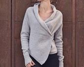 Wool cardigan, Handmade wool wrap, Natural light wool cardigan, Hand knitted wool top, Organic wool cardigan, Soft wool sweater, Warm jumper