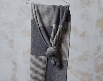 Knitted WOOL SCARF, wide organic wool shawl, unisex wool scarf, winter scarf from wool, knitted wool neck warmer, grey wool scarf