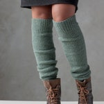 Leg warmers, Knit wool leg warmers, Lambs wool over the knee leg warmers, Knitted yoga and dancer's leg warmers, Long ribbed boot warmers