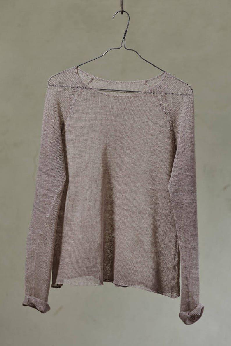 on sale 252f0 b7bea Leinen Pullover, Leinen Strickpullover in Beige, Leinen-Sommer-Jumper,  Bio-Leinen-Top für Damen, Leinen-Pullover Damen Bio Strick