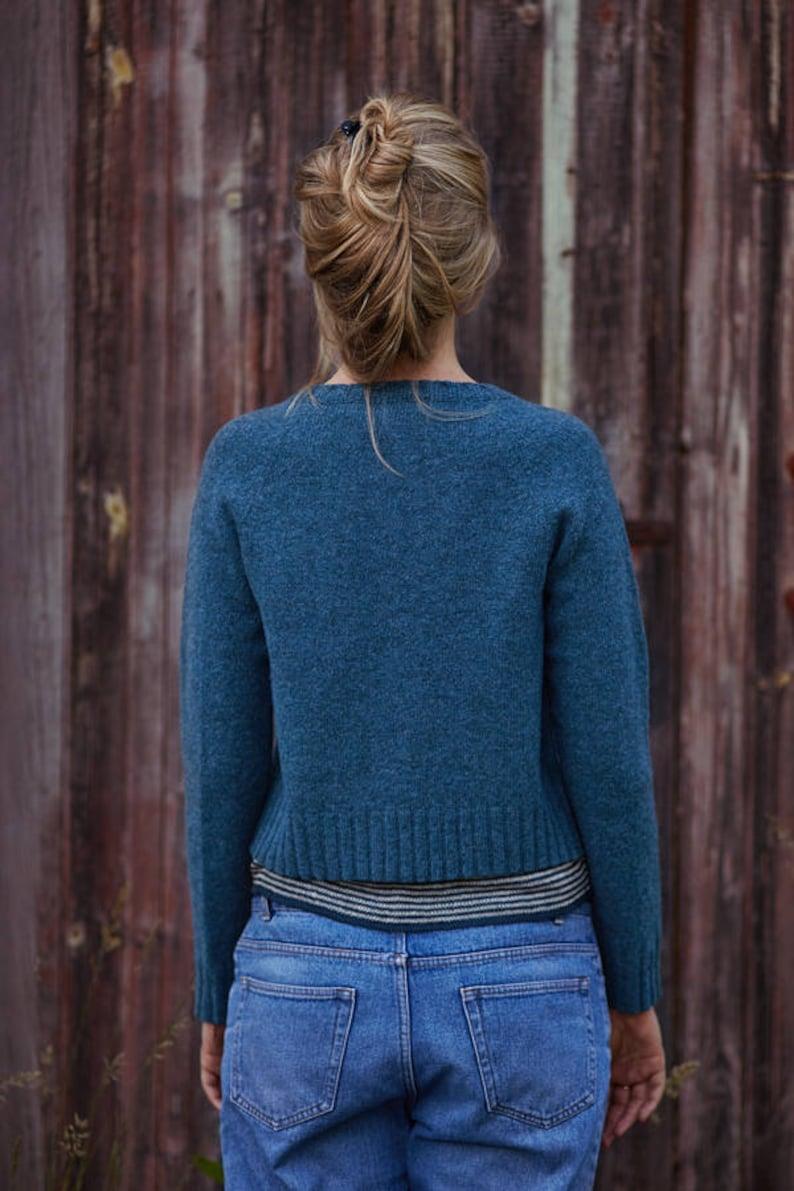 Wool cardigan Organic wool cardigan Handmade wool sweater Hand knitted wool top Natural blue wool cardigan Soft wool sweater