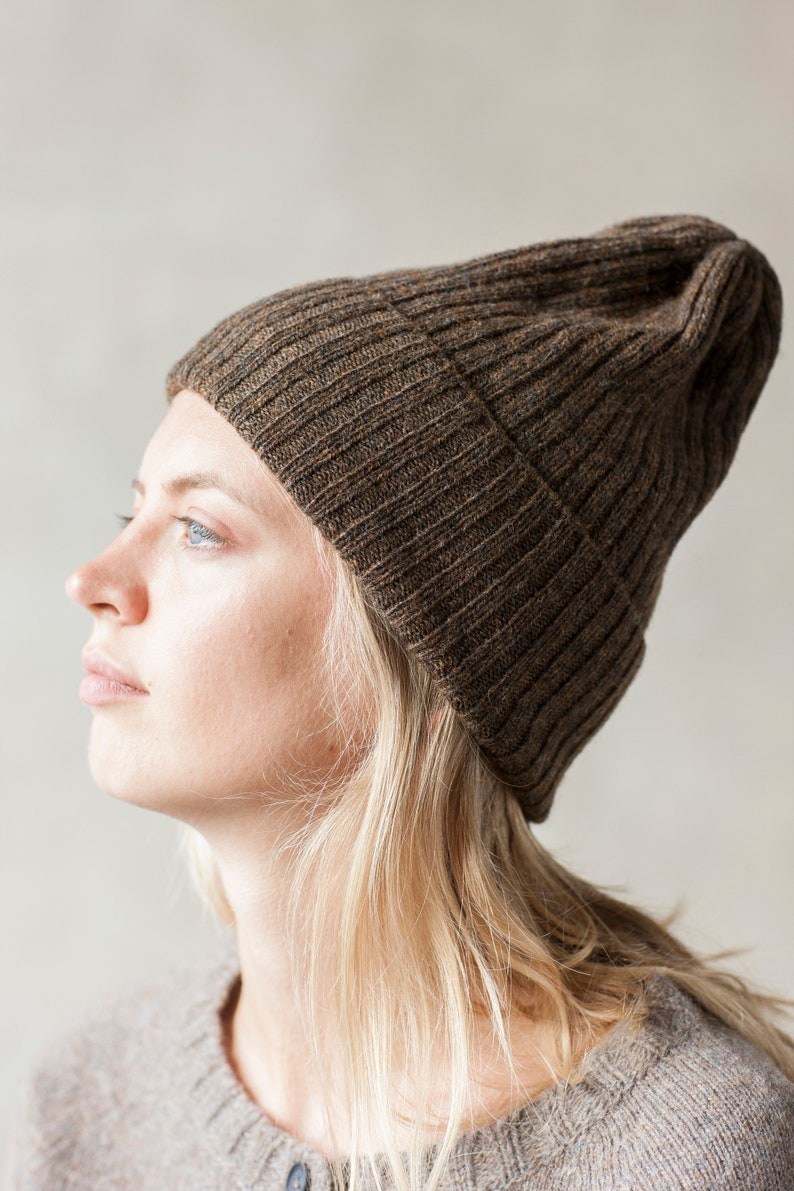 a36bad33fff Slouchy BEANIE in brown Wool winter hat Organic winter hat