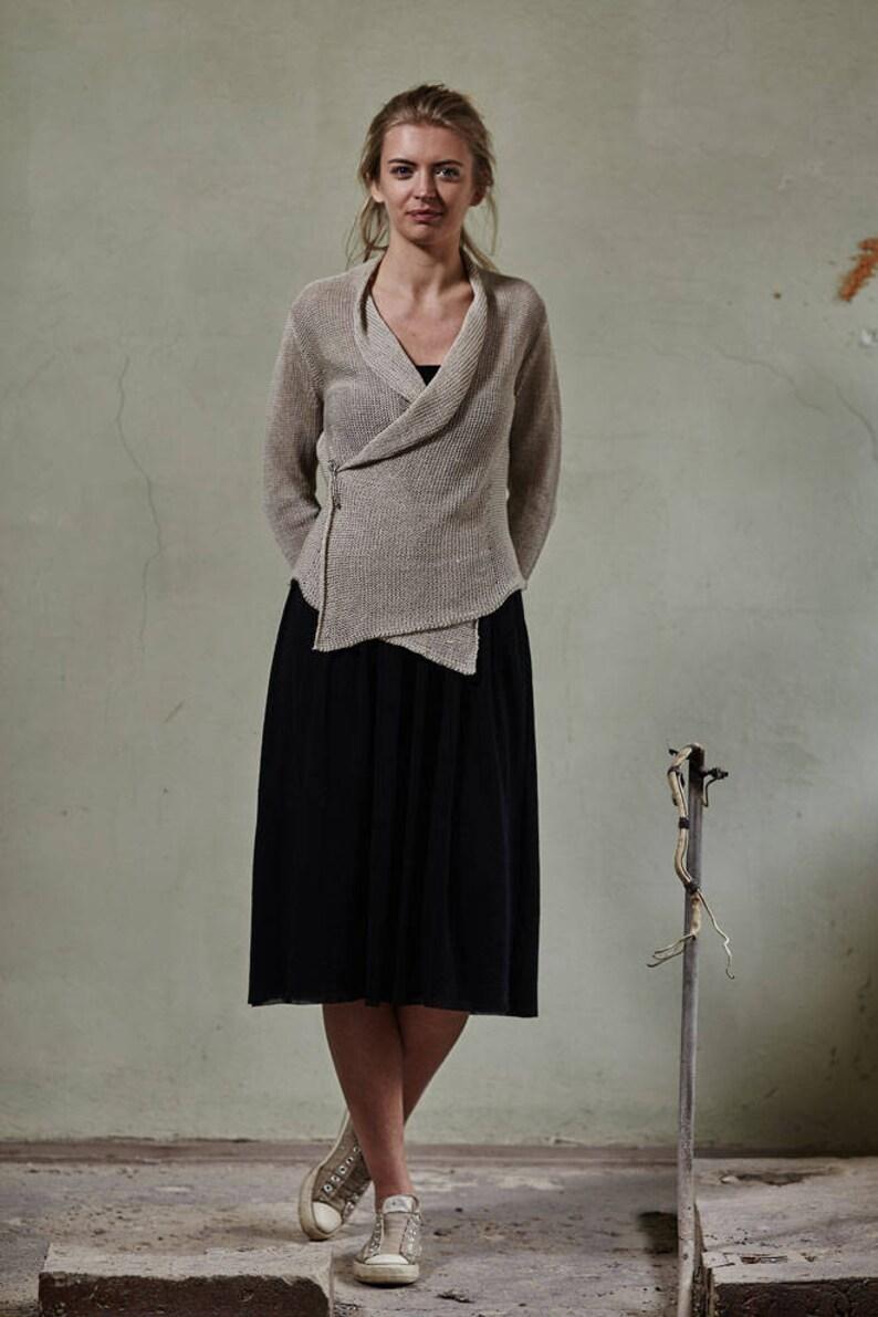 Organic linen cardigan,Knit linen jacket,Linen summer wrap,Knit linen sweater Knitted linen sweater Linen wrap Linen summer jacket