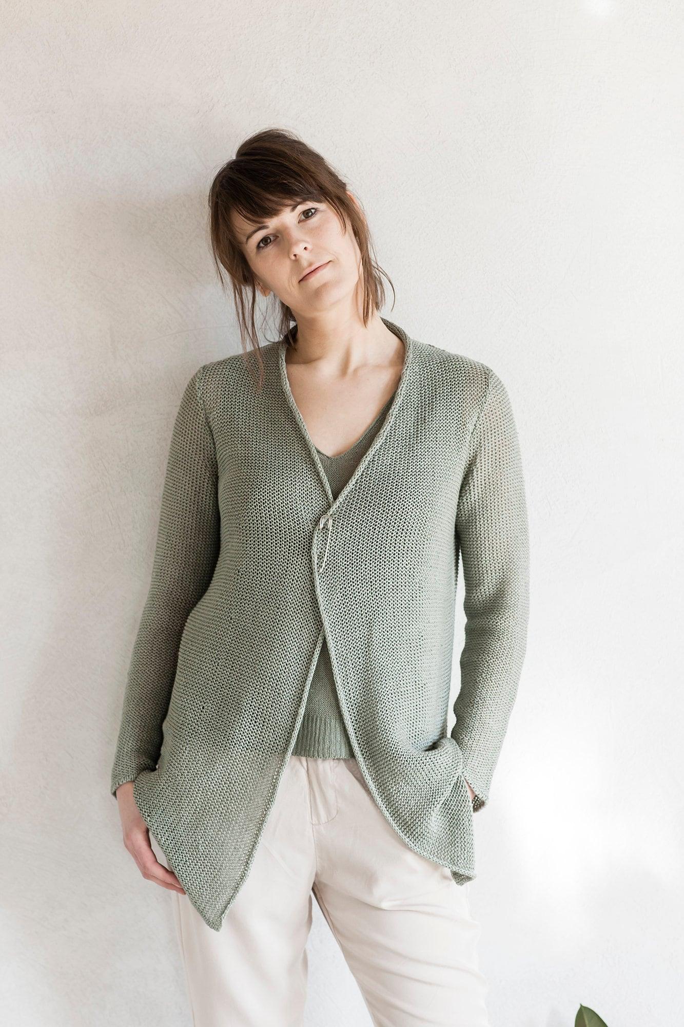 03e2cac1c0 Linen wrap cardigan Knitted linen sweater Linen summer | Etsy