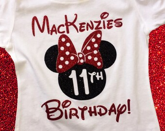 Disney Birthday Shirts Custom Shirt Glitter Minnie At For Girls Womens