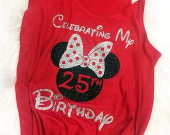 9b3d9a05ee28 Disney Birthday Shirts, Personalized Disney Birthday Minnie Shirt, Custom  Celebrating My Birthday at Disney Shirt, Glitter Minnie Bow Shirt