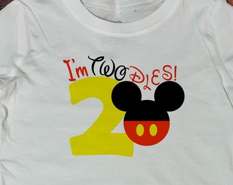 14a7e7c49 Mickey Mouse I'm Twodles boy shirt, baby boy t-shirt, birthday outfit, toddler  outfit, 2 year outfit, toddler boy, mickey mouse, disney