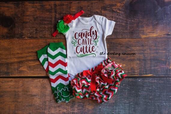 ada9c63d3 Candy Cane Cutie infant girl bodysuit baby girl bodysuit