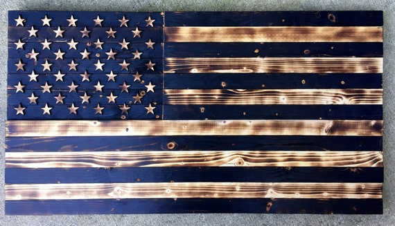 Wooden American Flag Charred Vintage Rustic