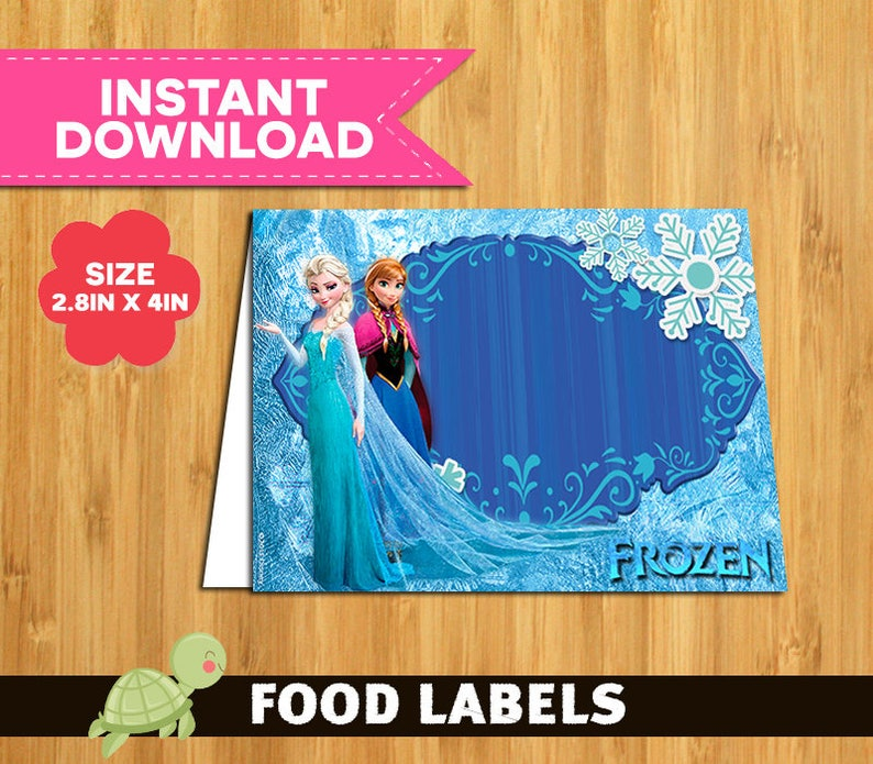 picture regarding Free Printable Frozen Food Labels identified as 12 Frozen labels social gathering printable - Frozen Food stuff Tent Playing cards fast down load - Frozen Bash Desk Label