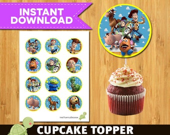 12  Toy Story  Cupcake Topper,  Toy Story Topper, Toy Story Birthday,  Toy Story Party
