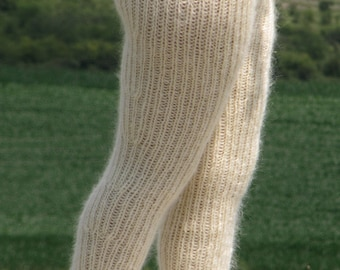 Knitted down leggings made of 100/% natural goat down Warm leggings knitted trousers Brown Soft dance Winter trousers Fluffy Down fetish