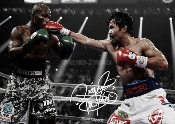 A Manny Pacquiao signed boxing boot, a right footed white