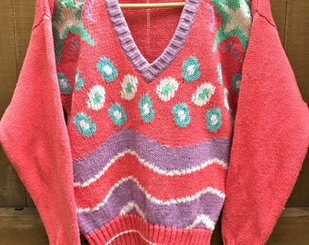 Unique Pink colorful Liz sport V-neck sweater size Small