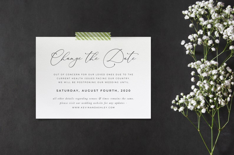 Change the Date Postponement Wedding & Event Announcement image 0