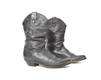 aaa798514 VINTAGE black genuine leather cowboy boot metal toe detail women's 7