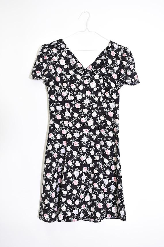 90s VINTAGE black floral dress