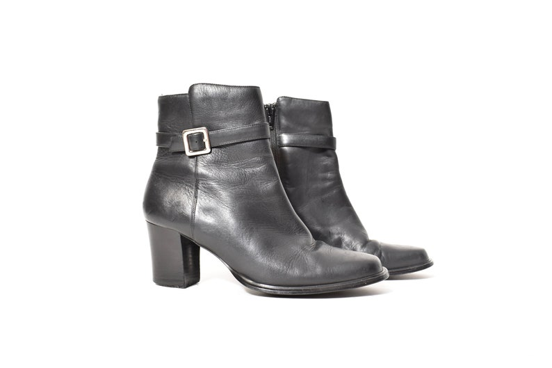 1058138342888 coolest 90s BLACK genuine leather buckle boots women's sz 7 90s boots  hipster minimalist grunge goth