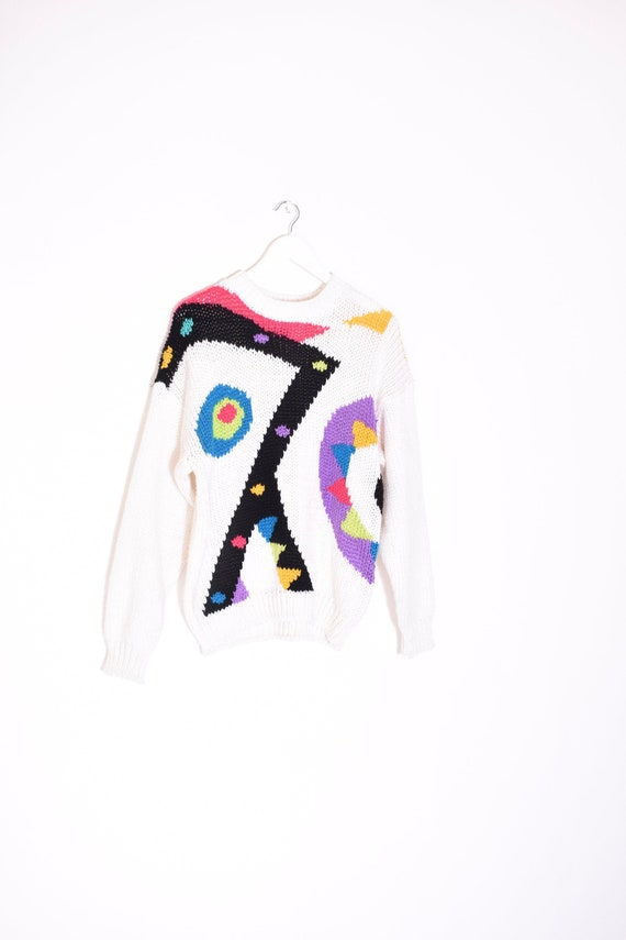 rare VINTAGE abstract hand knit sweater