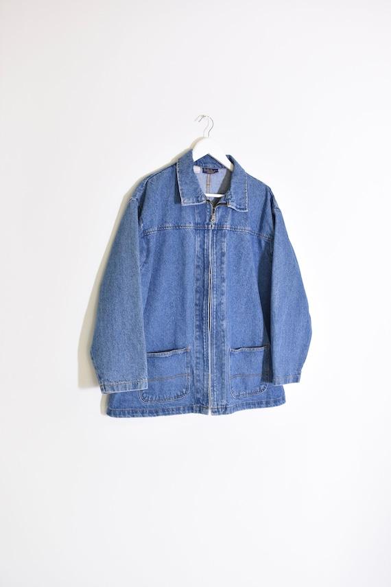 vintage DENIM zip front chore jacket