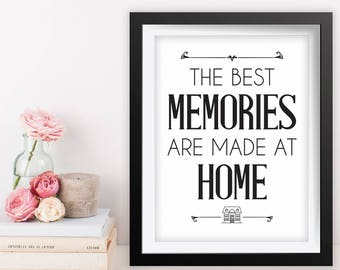 Printable Quote Art, 8x10 Printable Wall Art, Best Memories Made at Home Wall Art, Living Room Decor, Inspirational Quote, Best Memories