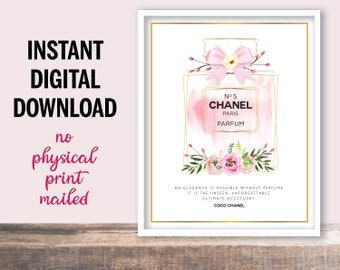 No Elegance Is Possible Without Perfume Printable Art Quote by Coco Chanel, Instant Digital Download, Perfume Wall Decor, Chanel Art Quote