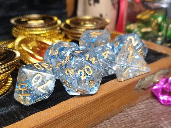 7 Dice Polyset BluePurple Glitter Clear Gem