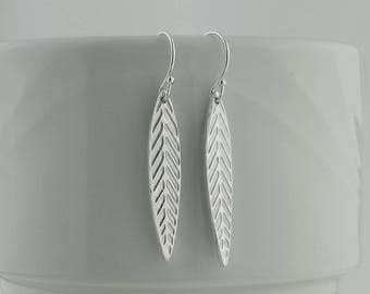 Silver Leaf Earrings, Fine Silver Elegant Leaf Earrings, Long Thin Leaf Earrings, Nature Earrings, Nature Jewelry, Botanical Earrings