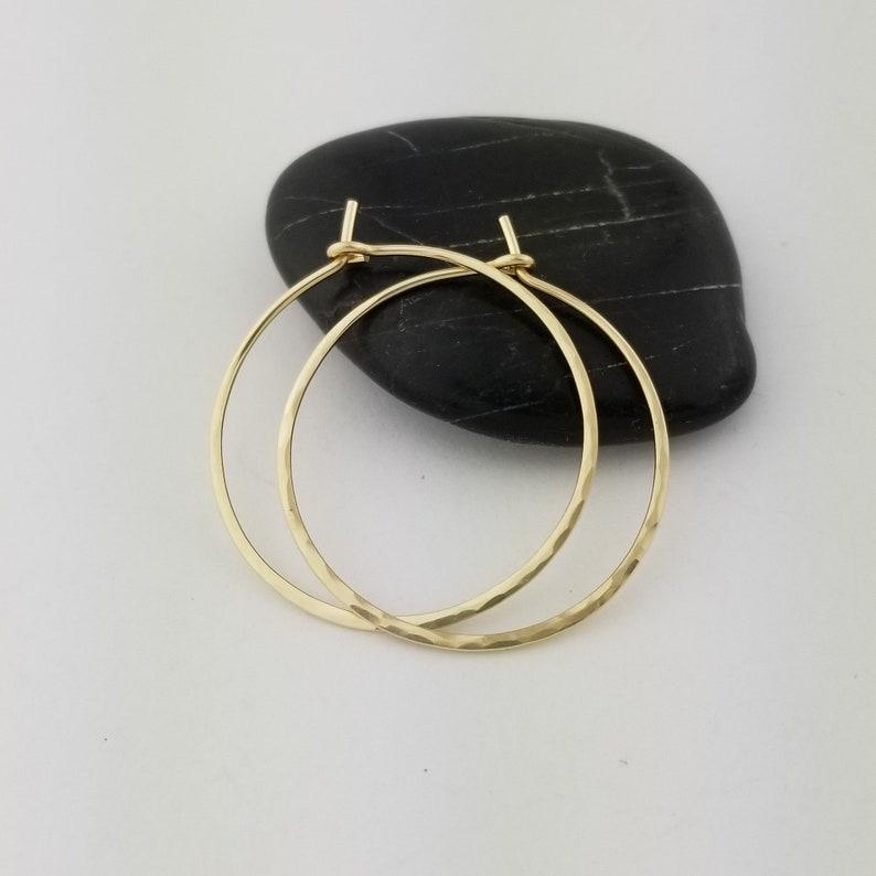 Thin Solid 14k Gold Hammered Hoop Earrings 20 Gauge