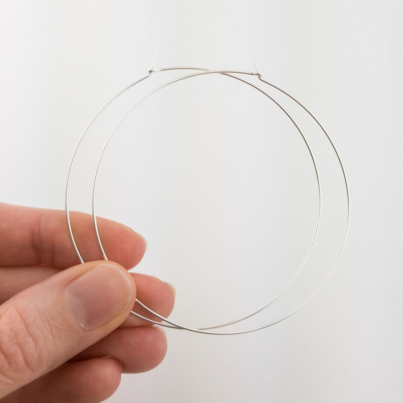 Thin Large Silver Hoop Earrings 2 2.5 3 image 0