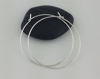 """Thin 1.5"""" Sterling Silver Hoop Earrings, Hammered Hoop Earrings, Silver Hammered Hoops, Hoop Earrings, Hammered Earrings"""