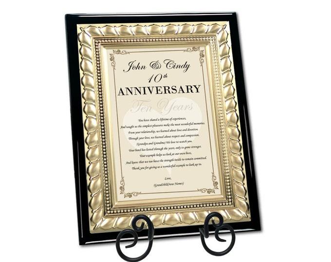 Mom & Dad Happy Anniversary Poetry Plaque Parents Congratulation Wedding Anniversary Present Plaque Best Wishes