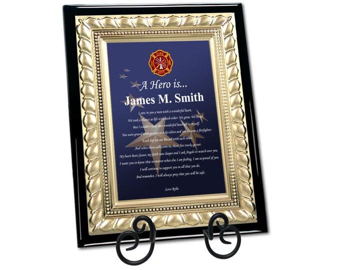 Fire Fighter Poetry Plaque Fireman Hero Birthday Retirement Love Gift Firefighter Gift Poem