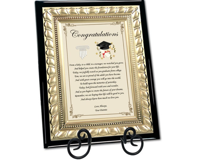 Personalized Graduation Poetry Plaque Present for High School or College University Graduate Congratulations