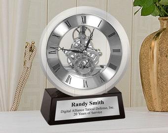 Engrave Desk Clock Silver DaVinci Dial Gear Encase in Glass Mounted on Black Glass Silver Engraved Retirement Recognition Service Promotion