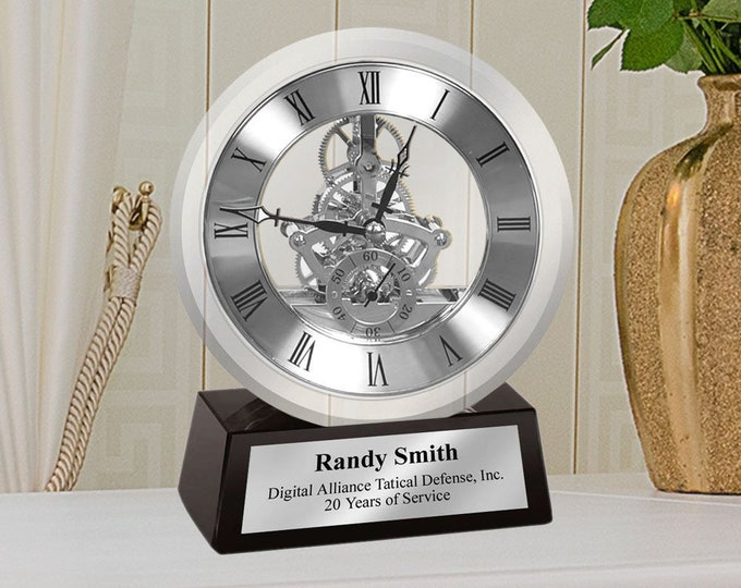 Engrave Desk Clock Silver DaVinci Dial Gear Encase in Glass Mounted on Black Glass Silver Engraved Retirement Recognition Service Promotion