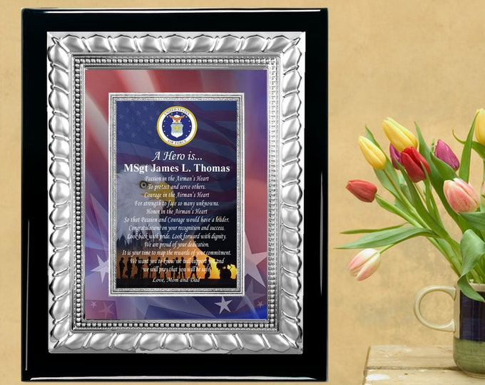 Silver Metal Military Plaque Service Recognition Award Display Present Soldier Sailor Marine Corps Air Force Navy Army National Guard